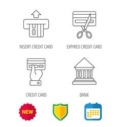 Bank credit card icons banking signs vector