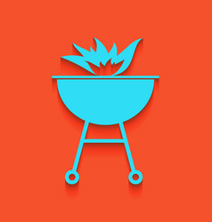 Barbecue with fire sign whitish icon on vector