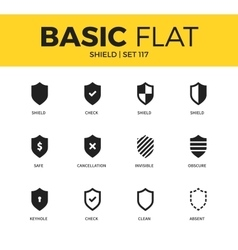 Basic set of Shield icons vector image