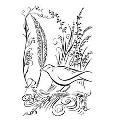 Bird has feather in its beak calligraphy swirling vector