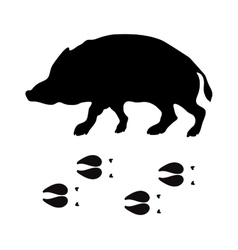 Black silhouette boar wild animal zoo vector image