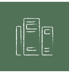 Books icon drawn in chalk vector