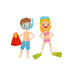 Boy and girl ready to snorkeling kids with diving vector