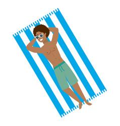 Boy with summer swimwear design vector