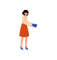 businesswoman or office worker standing with paper vector image