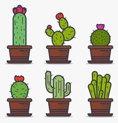 cactus in pot vector image