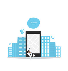 Car sharing service advertising web page template vector