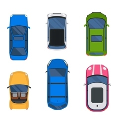 Car top view set vector