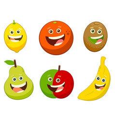 cartoon fruit characters set vector image