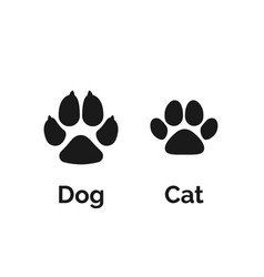cat and dog black paw print pets paw silhouette vector image