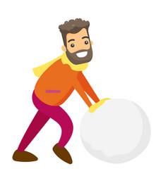 Caucasian man making a big snowball for snowman vector
