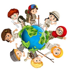 Children caring for the earth vector