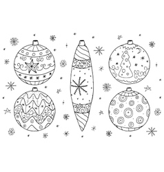 Christmas balls collection in doodle style vector