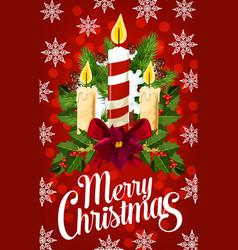 christmas candle banner with snowflake xmas light vector image