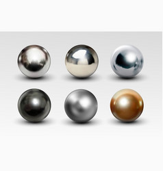 chrome ball set realistic isolated on white vector image