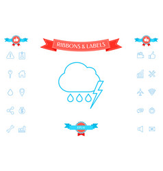 cloud thunderstorm lightning rain line icon vector image