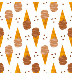 Coffee ice cream in waffle cones pattern vector