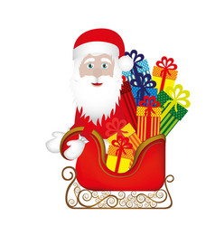 colorful silhouette of santa claus in sleigh with vector image