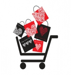 Consumer basket with many bags vector