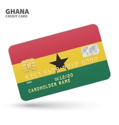 Credit card with Ghana flag background for bank vector