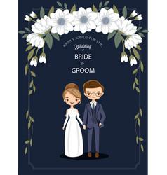 cute cartoon couple for wedding invitations card vector image