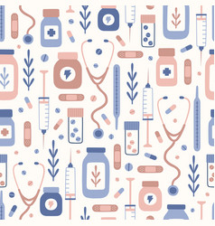 cute medical objects hand drawn seamless pattern vector image
