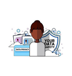 Data safety shield support agent african woman vector