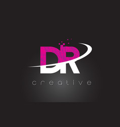 Dr d r creative letters design with white pink vector