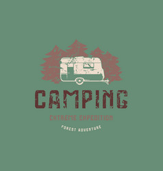 Emblem with rough texture for camping vector