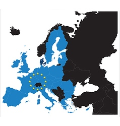 European Union map with stars of the European vector image