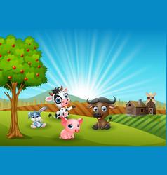 Farm cartoon animals in the morning vector