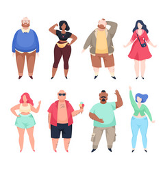 fat people lovely plus size men vector image