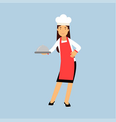female chef cook character in red apron holding vector image