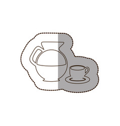 Figure water pitcher with coffee cup and plate vector