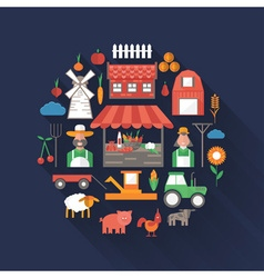 flat design on farm theme vector image