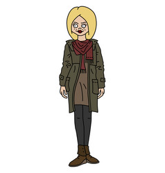 funny blonde in a khaki coat vector image