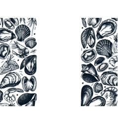 hand drawn seafood frame design with fresh fish vector image