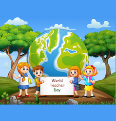 happy world teachers day with student holding blan vector image