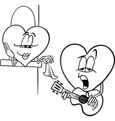 Heart love song cartoon coloring page vector