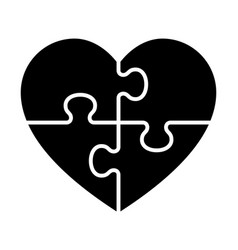 heart puzzle with four pieces or autism awareness vector image