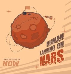 Human landing on Mars vector