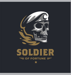 human skull in a military beret vector image