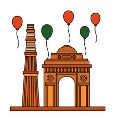 Indian gateway and balloons helium floating vector