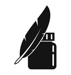 Ink feather jar icon simple style vector