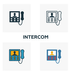 intercom icon set four elements in diferent vector image