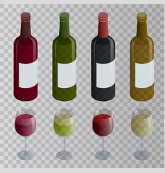 isometric set white rose and red wine bottles vector image