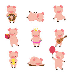 Kawaii pigs funny baby pig in mud piggy eating vector