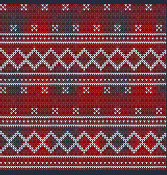 knitted red seamless pattern background vector image