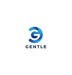 Letter g 3d blue colour circular minimal logo vector