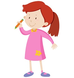 Little girl holding a pencil vector